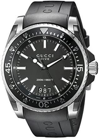 Gucci Gucci Dive Analog-Display Swiss Quartz Blac...