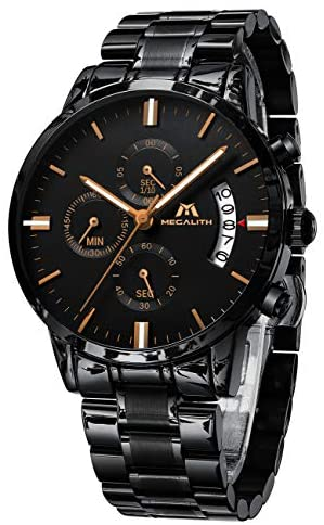 MEGALITH Mens Watches with Stainless Steel Waterp...