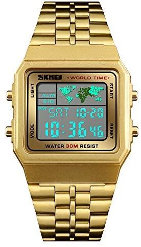 Mens Boys Sport Watch Digital World Time Alarm St...