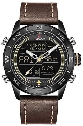 NAVIFORCE Mens Waterproof Sport Watches Leather D...
