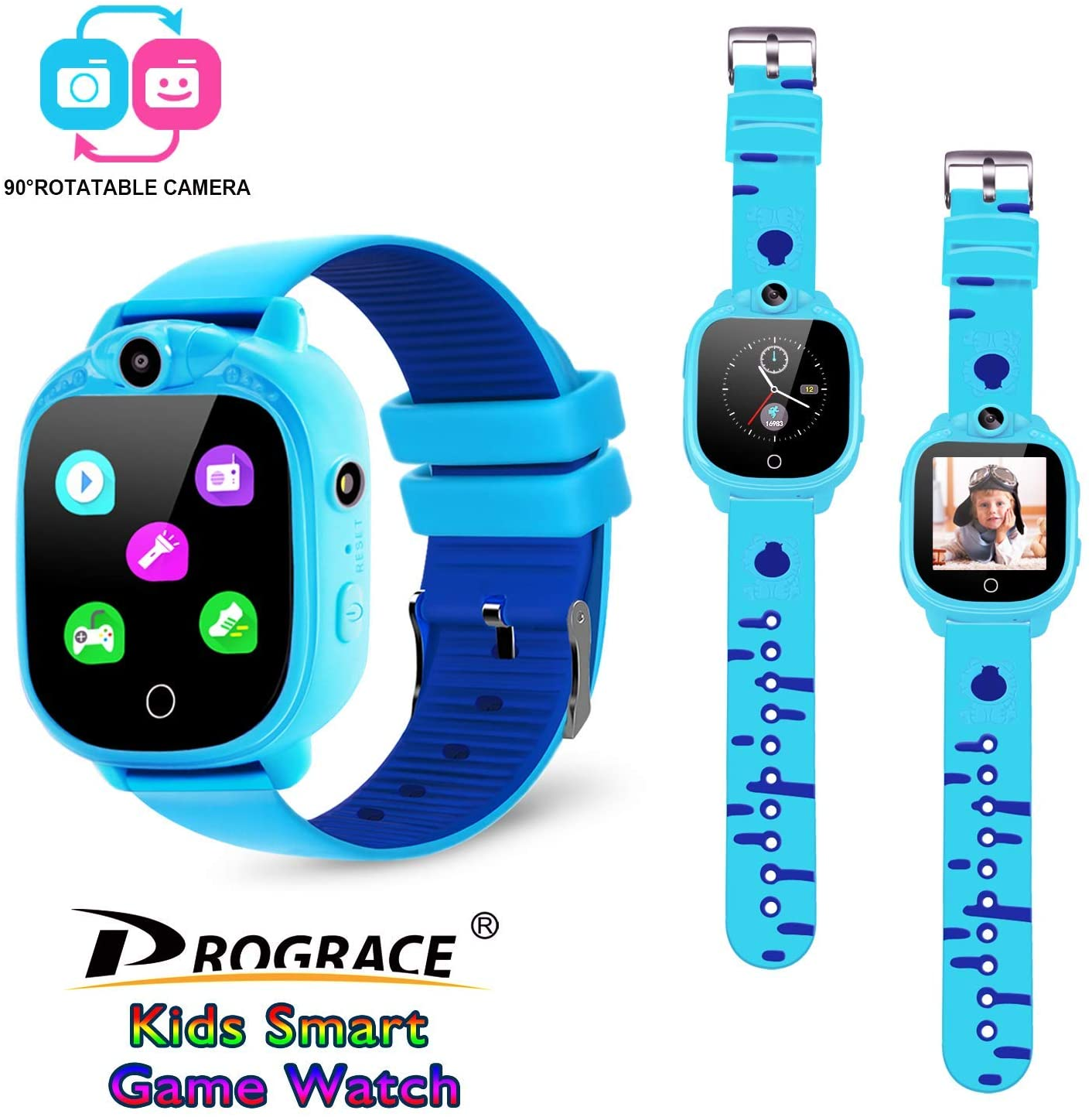 PROGRACE Kids Smartwatch with 90°Rotatable Camera...