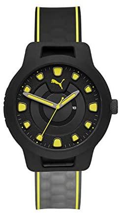 PUMA Men Reset V1 Silicone Watch, Color: Black/Ye...