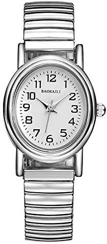 Simple Silver Elastic Stainless Steel Watch,Easy ...