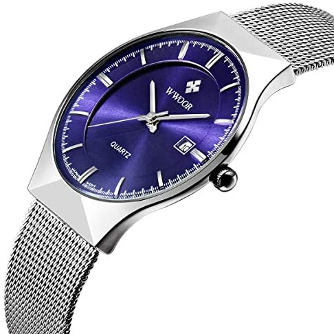 Thin Watches for Men Waterproof Black/Blue face M...