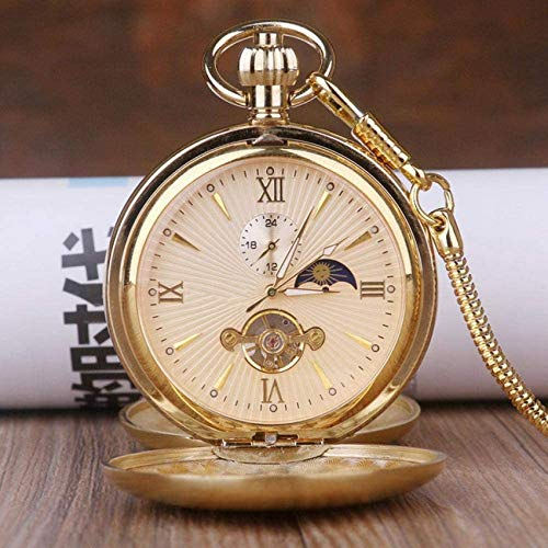 LUNAH Pocket Watch with Chain Golden Moon Phase M...