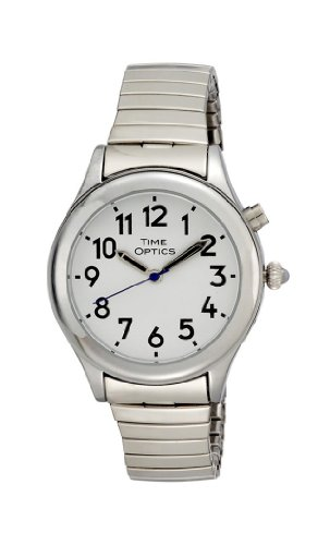 TimeOptics Women's Talking Silver-Tone Day Date A...