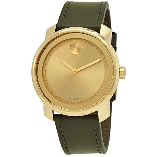 Men's Movado Bold Gold-Ion Plated Leather Strap W...