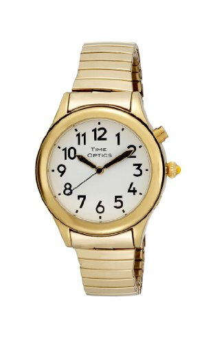 TimeOptics Women's Talking Gold-Tone Day Date Ala...